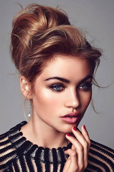 20 Easy Updo Hairstyles For Medium Hair – Pretty Designs Regarding Newest Hairstyles For Long Hair With Bangs Updos (View 10 of 15)