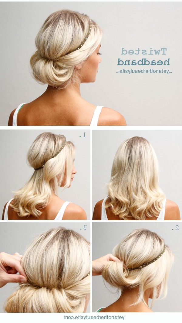 20 Easy Updo Hairstyles For Medium Hair – Pretty Designs Within Most Recently Updo Hairstyles For Long Hair With Bangs And Layers (View 13 of 15)
