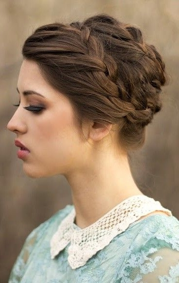 20 Easy Updo Hairstyles For Medium Hair – Pretty Designs Within Recent Braided Crown Updo Hairstyles (View 2 of 15)