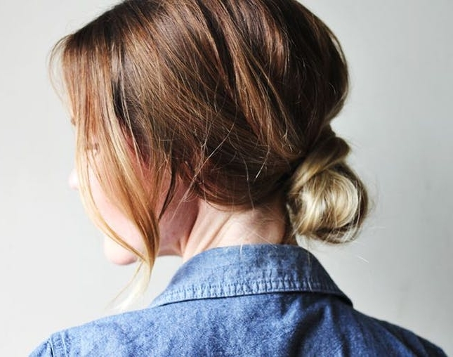 20 Low Buns To Make You Forget The Topknot | Brit + Co Intended For Most Recent Easy Casual Updo Hairstyles For Thin Hair (View 12 of 15)