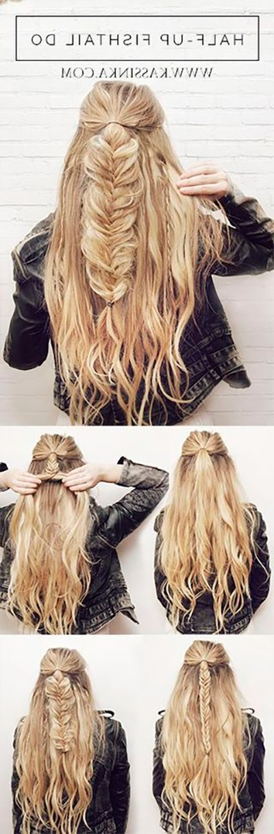 22 Easy Half Up Hairstyle Tutorials You Have To Try – Gurl Regarding 2018 Diy Half Updo Hairstyles For Long Hair (View 3 of 15)