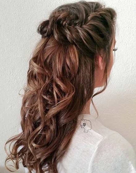 22 Hottest Curly Fishtail Braid Half Updo For Long Hair | Intended For Recent Half Updos For Long Hair (View 5 of 15)