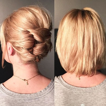 23 Hair Updos For Short Hair – Short Hairstyles 2018 Within Most Recently Easy Updos For Very Short Hair (View 2 of 15)