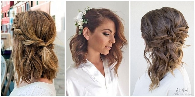 24 Lovely Medium Length Hairstyles For Fall Weddings With Regard To Current Wedding Updos Shoulder Length Hairstyles (View 15 of 15)