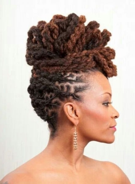 25 Updo Styles For Locs – Tgin With Regard To Newest Dreadlock Updo Hairstyles (View 4 of 15)