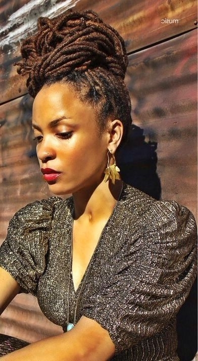 25 Updo Styles For Locs – Tgin Within Most Current Dreadlock Updo Hairstyles (View 5 of 15)