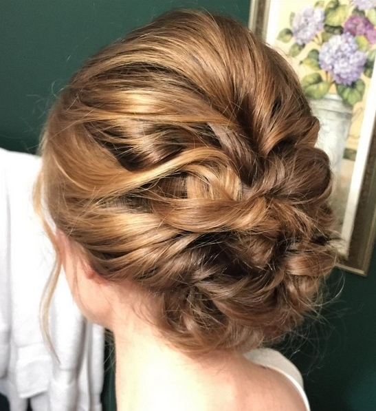 27 Super Trendy Updo Ideas For Medium Length Hair – Popular Haircuts With Most Current Updo Hairstyles With Bangs For Medium Length Hair (View 5 of 15)