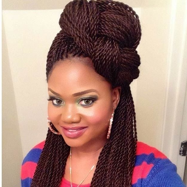 29 Senegalese Twist Hairstyles For Black Women | Braided Top Knots Pertaining To Most Popular Senegalese Twist Styles Updo Hairstyles (View 1 of 15)