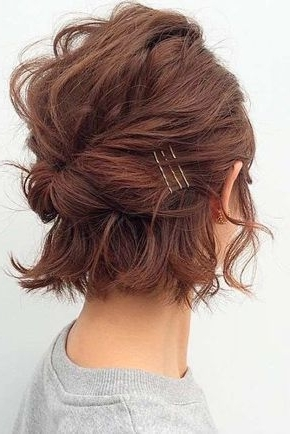 30 So Cute Easy Hairstyles For Short Hair | Easy Updo Hairstyles Throughout Latest Updo Hairstyles For Bob Hairstyles (View 14 of 15)