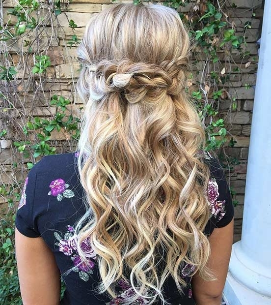31 Half Up, Half Down Hairstyles For Bridesmaids | Stayglam Within Most Up To Date Half Curly Updo Hairstyles (View 12 of 15)