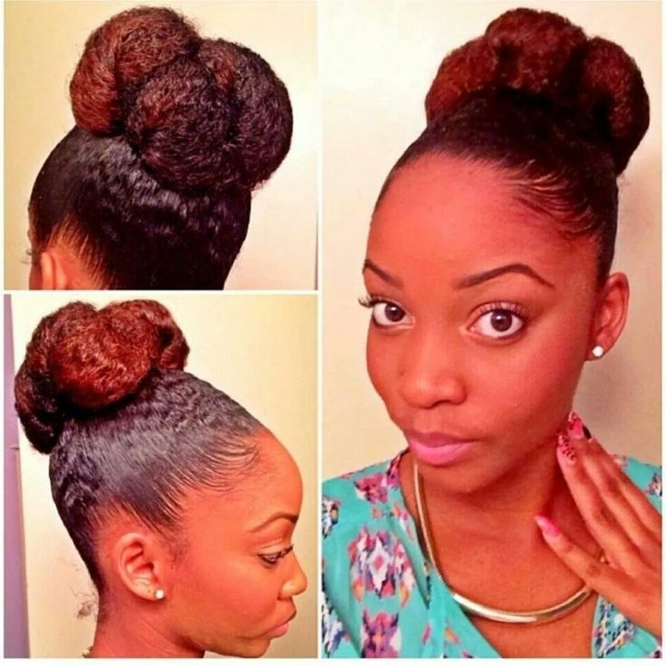 33 Best Black Women High Bun Hairstyles Images On Pinterest | Beleza In Current Updo Hairstyles For Black Hair (View 5 of 15)