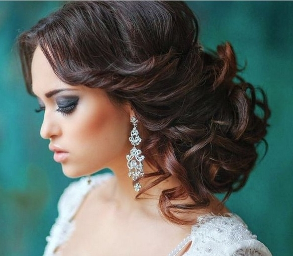 35 Wedding Hairstyles: Discover Next Year's Top Trends For Brides Throughout Latest Updo Hairstyles For Long Hair With Bangs (View 5 of 15)