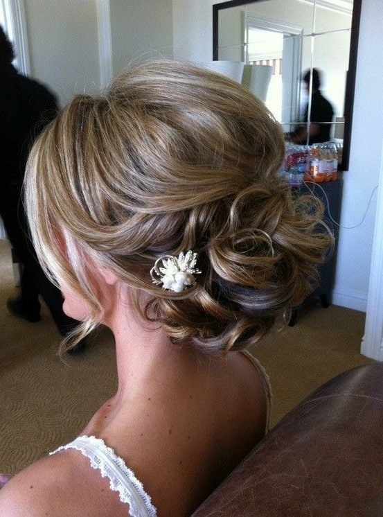 39 Elegant Updo Hairstyles For Beautiful Brides | Curling Fine Hair Intended For Latest Bridesmaid Updo Hairstyles For Thin Hair (View 3 of 15)
