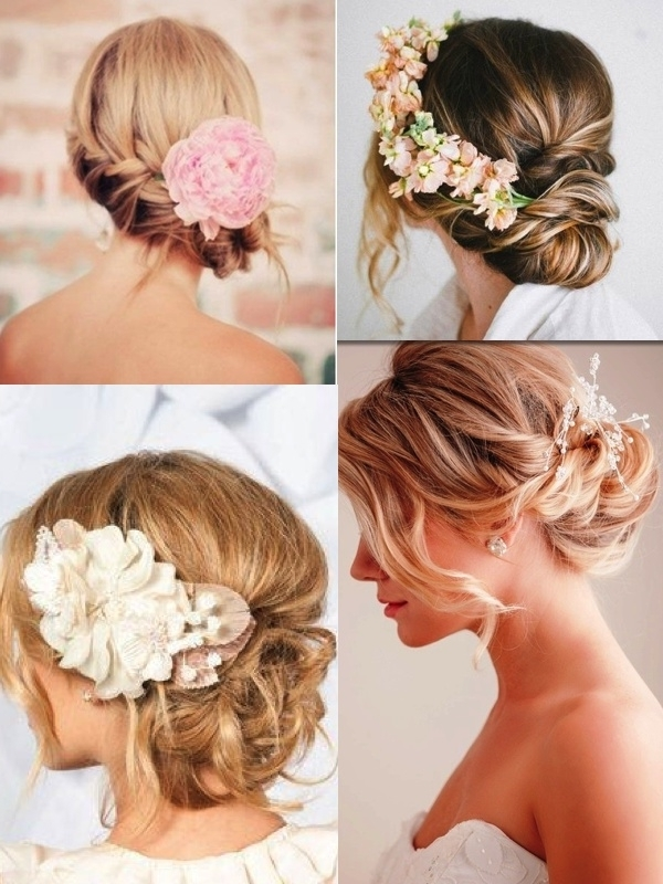39 Elegant Updo Hairstyles For Beautiful Brides | Wedding Planners Intended For Most Popular Updo Hairstyles With Flowers (View 5 of 15)