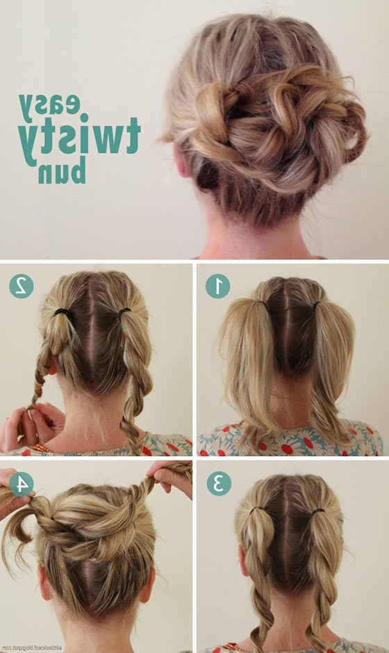 40 Quick And Easy Updos For Medium Hair Throughout 2018 Easy Braided Updo Hairstyles For Long Hair (View 3 of 15)