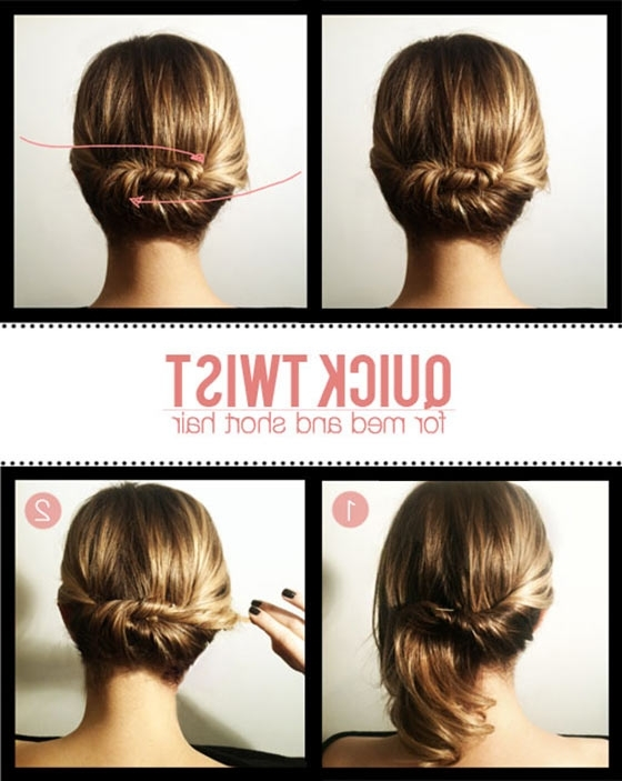 40 Quick And Easy Updos For Medium Hair Within Current Updo Hairstyles With Bangs For Medium Length Hair (View 14 of 15)