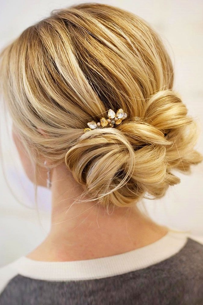 46 Best Ideas For Hairstyles For Thin Hair With Regard To Most Recently Low Bun Updo Hairstyles For Wedding (View 8 of 15)