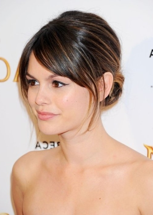 50 Best Updos For Medium Hair   Herinterest/ Throughout Most Popular Updos For Layered Hair With Bangs (View 14 of 15)