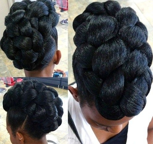 50 Cute Updos For Natural Hair | Black Braided Updo, Black Braids Pertaining To Recent Natural Updo Bun Hairstyles (View 7 of 15)