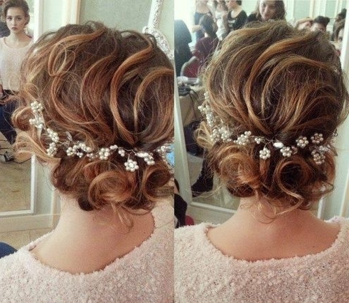 60 Trendiest Updos For Medium Length Hair   Loose Curly Updo Inside Most Recently Loose Updos For Curly Hair (View 7 of 15)