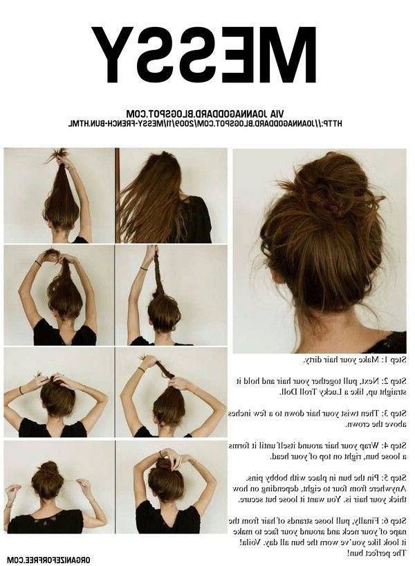 7 Easy Stepstep Hair Tutorials For Beginners | Messy Buns, Hair Inside 2018 Messy Hair Updo Hairstyles For Long Hair (View 8 of 15)