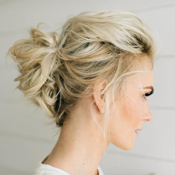 70 Darn Cool Medium Length Hairstyles For Thin Hair   Blonde Updo With 2018 Messy Updos For Medium Length Hair (View 2 of 15)