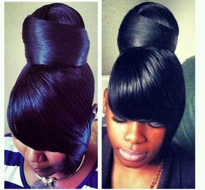 97 Best Flawless Hair (Buns & Updo's) Images On Pinterest   Black Regarding Most Popular Updo Hairstyles With Bangs For Black Hair (View 6 of 15)
