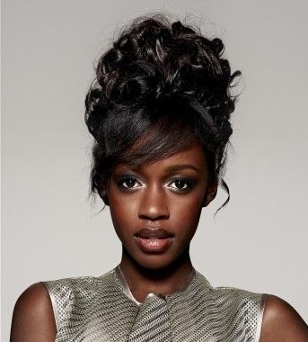 A Long Black Curly Relaxed Ethnic Black Updo Womens Hairstyle Intended For Newest Ethnic Updo Hairstyles (View 3 of 15)