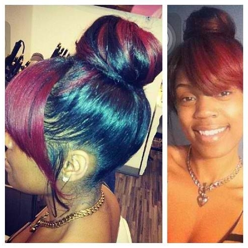 African American Bun Updo Styles With Regard To Best And Newest Black Hair Updo Hairstyles With Bangs (View 9 of 15)