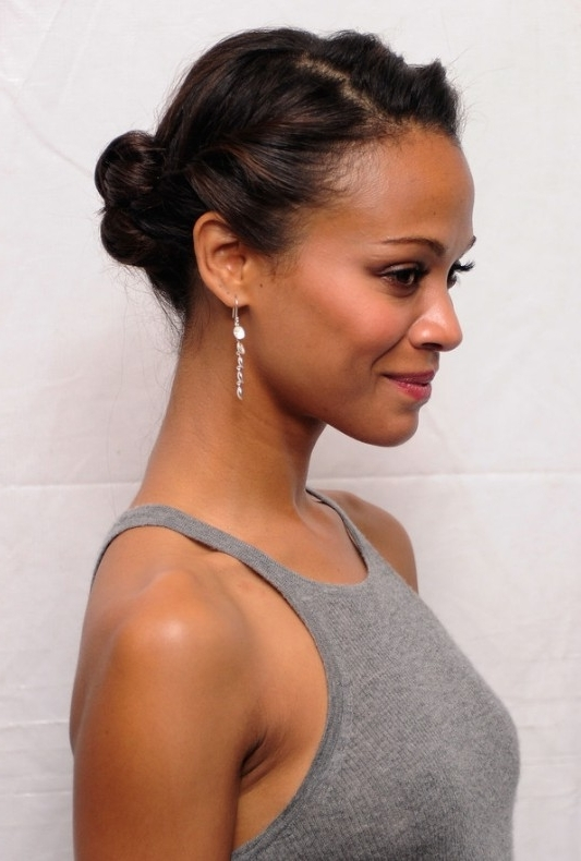 African American Daily Hairstyles : Zoe Saldana Cute Simple Casual Intended For Most Up To Date Quick And Easy Updo Hairstyles For Black Hair (View 10 of 15)