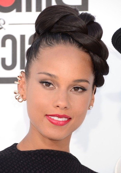 Alicia Keys Braided Updo Hairstyles – Popular Haircuts Pertaining To Current Quick And Easy Updo Hairstyles For Black Hair (View 11 of 15)