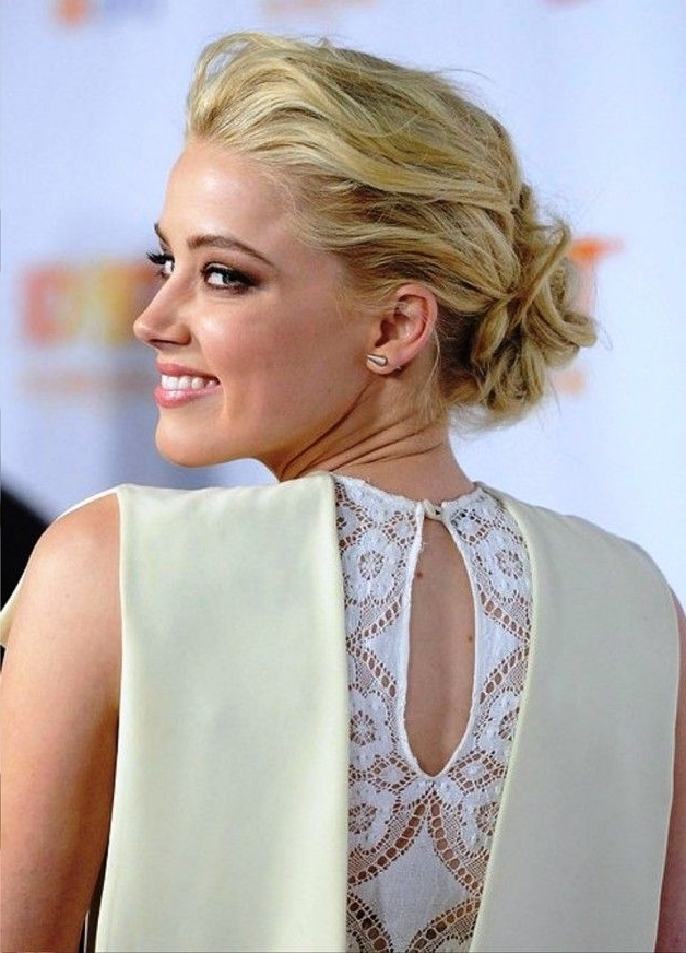 Amber Heard Low Casual Loose Bun Updo Pictures, Update Your Look Regarding Most Recently Loose Bun Updo Hairstyles (View 10 of 15)