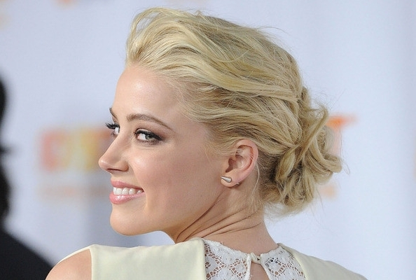 Amber Heard's Teased And Tousled Updo – How To Hairstyles – Livingly Throughout 2018 Teased Updo Hairstyles (View 4 of 15)