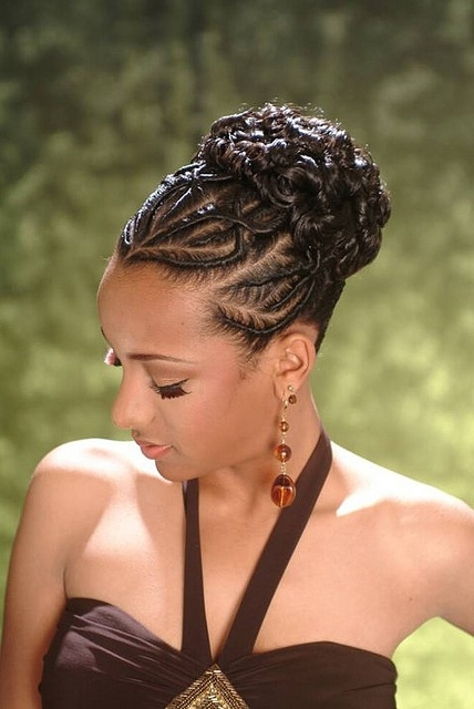 American Micro Braid Styles African American French Braid Updo Regarding Most Recent Afro American Updo Hairstyles (View 11 of 15)