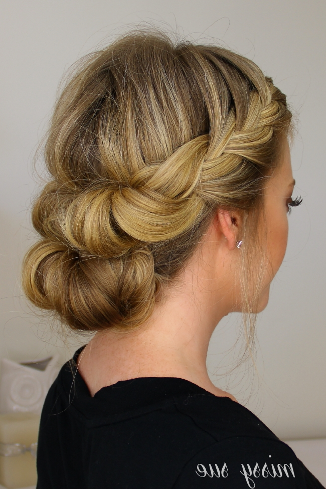 And Cover French Braid Half With A Bun With Regard To Most Current Updo Hairstyles With French Braid (View 4 of 15)