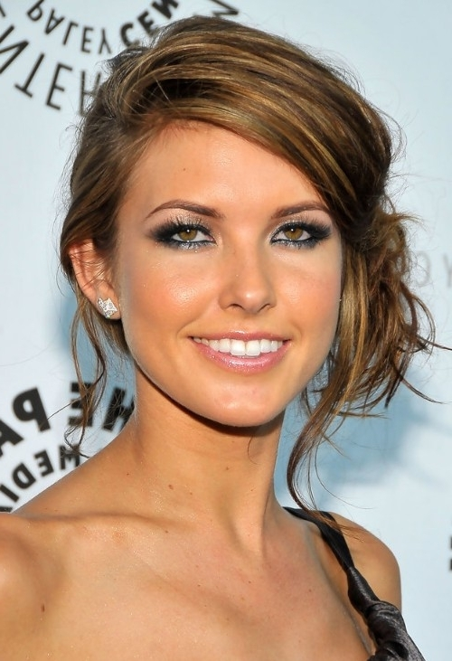Audrina Patridge Updo: Sexy Loose Side Bun Updo With Bangs Pertaining To Recent Side Bun Updo Hairstyles (View 4 of 15)