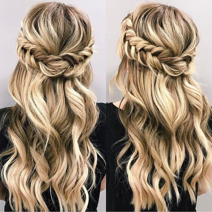 Beautiful Braid Half Up And Half Down Hairstyle For Romantic Brides With Regard To Most Recently Half Updos For Long Hair (View 11 of 15)