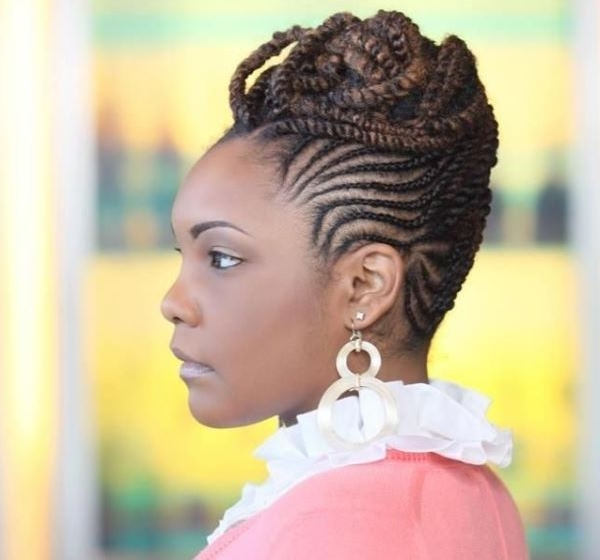 Showing Photos Of African Braids Updo Hairstyles View 5 Of 15 Photos