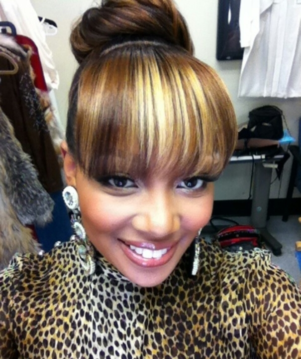 Black Hair With Bangs Hairstyles – Hairstyle For Women & Man Inside Most Recently Black Hair Updo Hairstyles With Bangs (View 12 of 15)