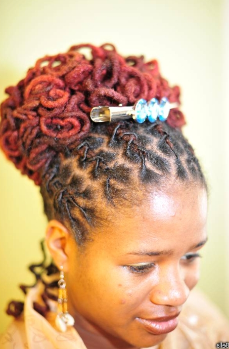 Black Women Dreadlocks Updo Bun – Thirstyroots: Black Hairstyles Pertaining To Most Current Dreadlock Updo Hairstyles (View 8 of 15)