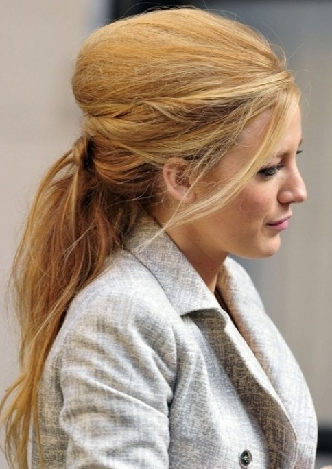 Blake Lively Long Hairstyle: Teased Ponytail – Pretty Designs Within Recent Teased Updo Hairstyles (View 6 of 15)