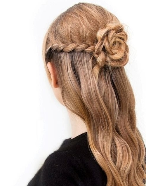 Braided Flower Half Updo Hairstyle Throughout Latest Half Up Half Down Updo Hairstyles (View 9 of 15)