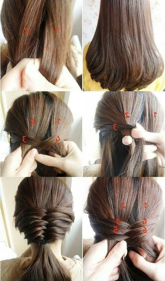 Braided Hairstyle For Medium Straight Hair Inside Newest Easy Braided Updos For Medium Hair (View 10 of 15)
