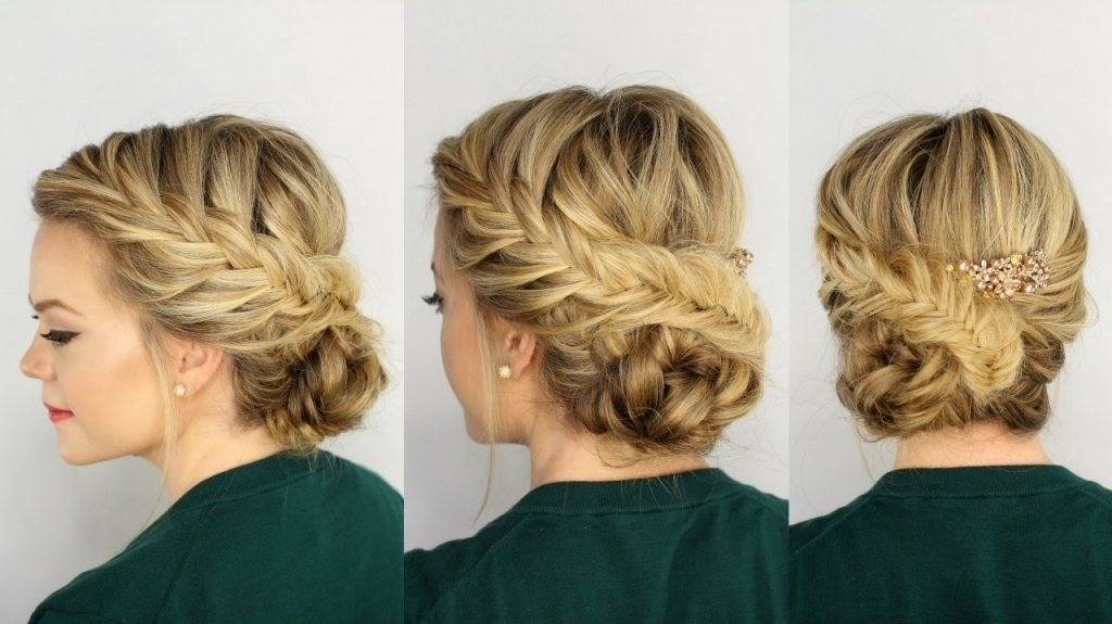 Braided Side Updo Fishtail Braided Updo Youtube – Popular Long With Best And Newest Side Updo Hairstyles (View 6 of 15)