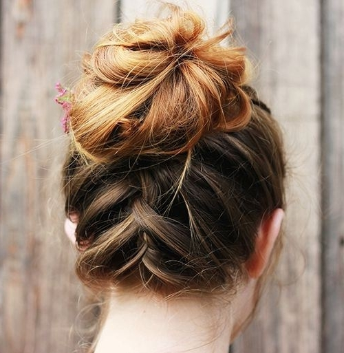 Braided Updo For Medium Hair With Regard To Most Popular Cute Updo Hairstyles For Medium Hair (View 11 of 15)