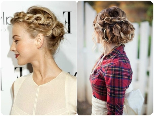 Braided Updo Headband Brown Ombre Hairstyle With Ombre Color Human Throughout Most Recent Braided Updo Hairstyles With Extensions (View 13 of 15)