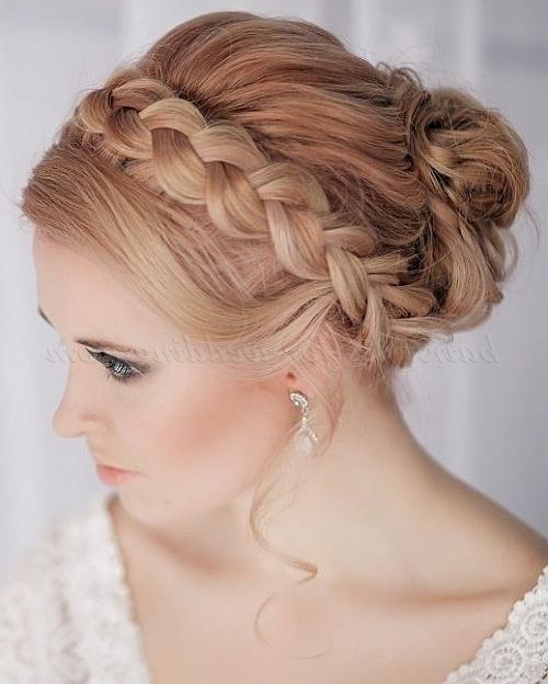 Braided Wedding Hairstyles – Crown Braid Wedding Hairstyle Pertaining To 2018 Braided Crown Updo Hairstyles (View 11 of 15)