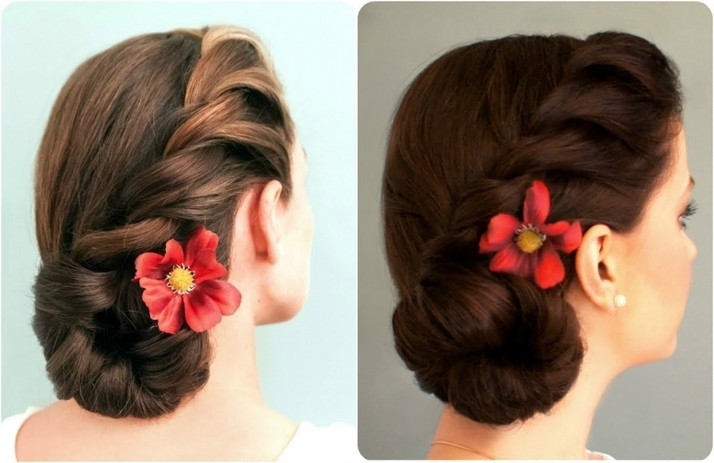 Bridal Bun Hairstyle 30 Elegant Bridal Updo Hairstyles Indian Beauty For Newest Indian Updo Hairstyles (View 12 of 15)