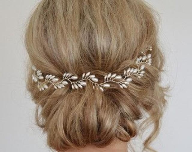 Bridal Headpiece, Bridal Halo For Updo, Hair Vine, Freshwater Pearl Regarding 2018 Long Hair Updo Accessories (View 5 of 15)