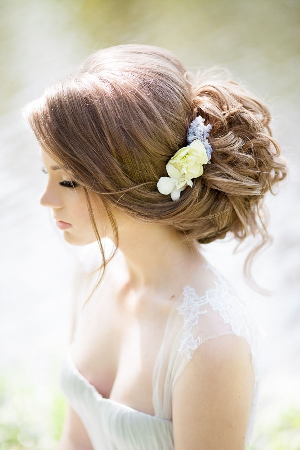 Bridal Updo Hairstyles With Flower Headpiece | Deer Pearl Flowers With Most Up To Date Updo Hairstyles With Flowers (View 6 of 15)